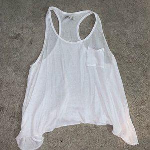 White Flowy Knit Tank Top